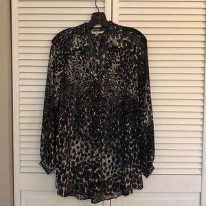 Leopard print sheer tunic